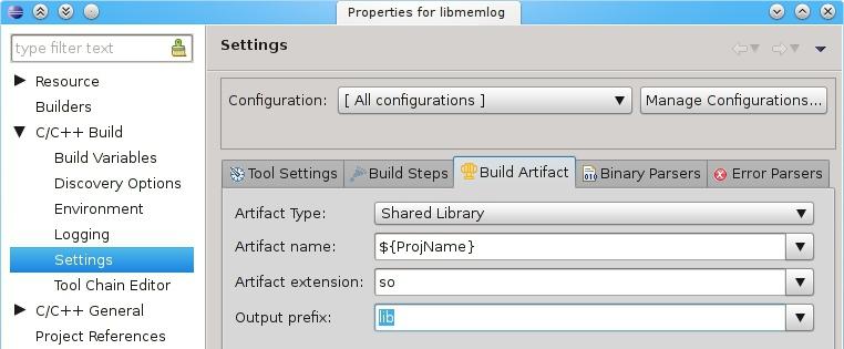 Build artifact prefix