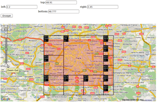 final cell choice for a rectangle surrounding Paris, France