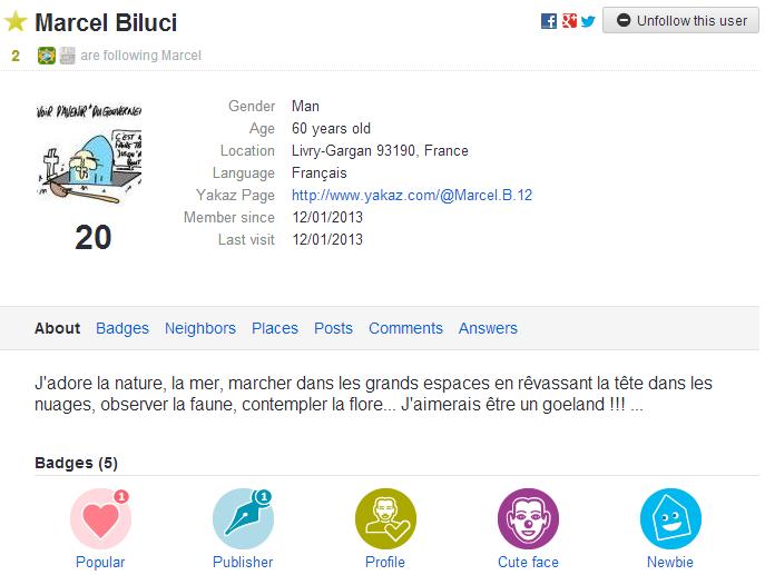 Marcel Biluci   Livry Gargan 93190  France   Yakaz